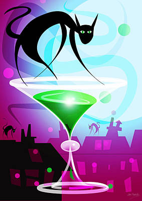 The Cat From Number 9 Absinthe Street Poster by Johnny Trippick
