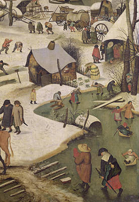 The Census At Bethlehem, Detail Of Children Playing On The Frozen River Oil On Canvas Poster by Pieter the Elder Bruegel