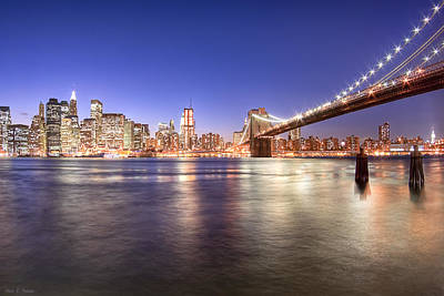 The City Lights Of Manhattan - Brooklyn Bridge Poster by Mark E Tisdale