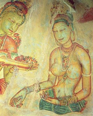 The Cloud Damsels, From The Rock Fortress Fresco Detail Poster by Sri Lankan School