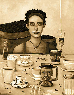 The Coffee Addict In Sepia Poster by Leah Saulnier The Painting Maniac