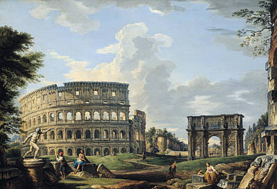 The Colosseum And The Arch Of Constantine Poster by Giovanni Paolo Panini