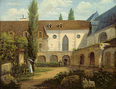 The Convent Courtyard Of Petits-augustins A Paris, C.1818 Oil On Canvas Poster by Etienne Bouhot