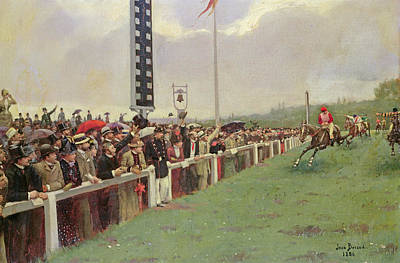 The Course At Longchamps Poster by Jean Beraud