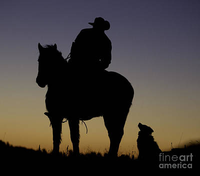 The Cowboy And His Dog Poster by Carol Walker
