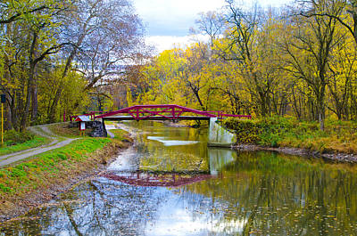The Delaware Canal Near New Hope Pa In Autumn Poster by Bill Cannon