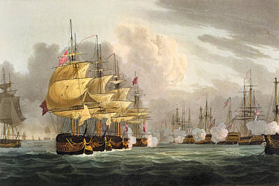 The Destruction Of The Danish Fleet Poster by Thomas Whitcombe