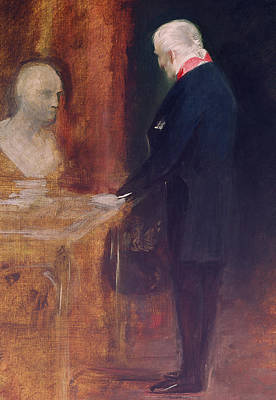 The Duke Of Wellington Studying A Bust Of Napoleon Poster by Charles Robert Leslie