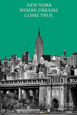 The Empire State Building Pantone Emerald Poster by John Farnan