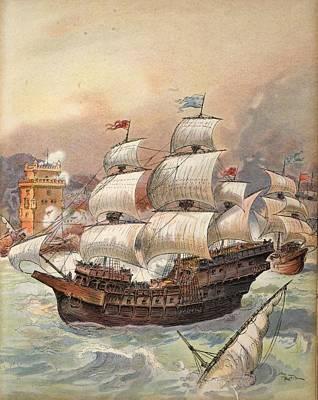 The Fleet Of Jean Ango Blocks The Tagus Poster by Albert Robida