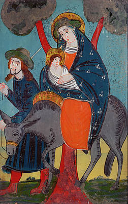 The Flight Into Egypt Glass Painting Poster by Austrian School