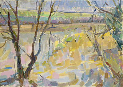 The Flooded Cherwell From Rousham II Oil On Canvas Poster by Erin Townsend