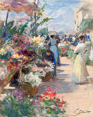The Flower Market Poster by Victor Gabriel Gilbert