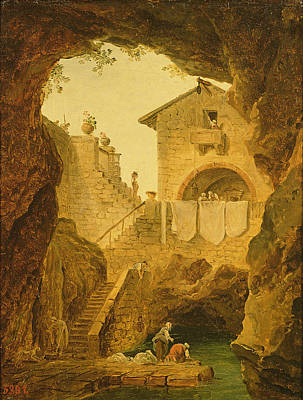 The Fountain Under The Grotto Oil On Canvas Poster by Hubert Robert
