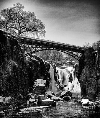 The Great Falls Of Paterson In Black And White Poster by Mark Miller