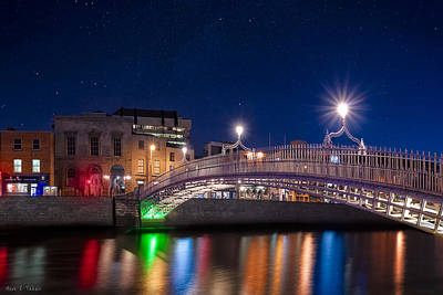 The Ha'penny Bridge On A Winter Night In Dublin Poster by Mark E Tisdale