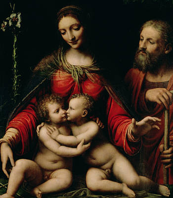 The Holy Family With The Infant St. John Poster by Bernardino Luini