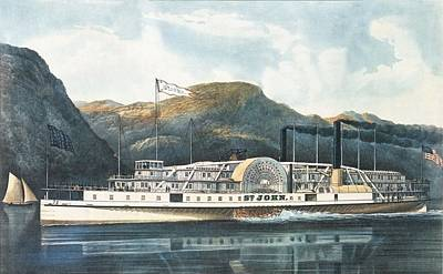 The Hudson River Steamboat St. John, Published 1864 Colour Litho Poster by N. Currier