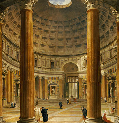 The Interior Of The Pantheon Poster by Giovanni Paolo Panini