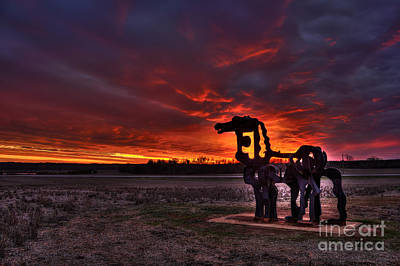 The Iron Horse Red Sky Sunset Poster by Reid Callaway