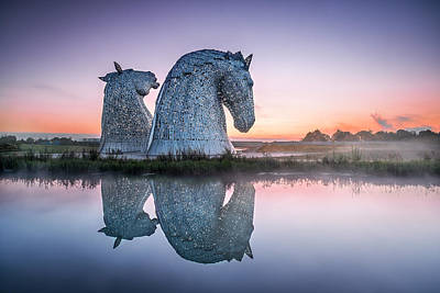 The Kelpies At Dawn 5 Poster by Paul Bradburn