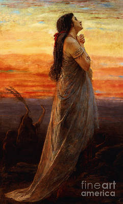 The Lament Of Jephthahs Daughter Poster by George Elgar Hicks