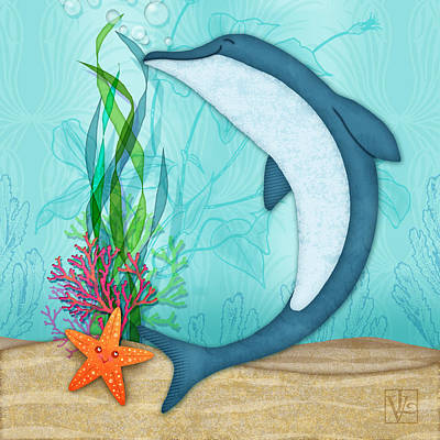 The Letter D For Dolphin Poster by Valerie Drake Lesiak