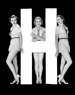 The Letter h  And Three Women Poster by Underwood Archives