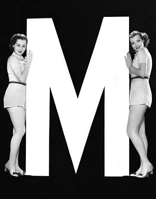 The Letter m  And Two Women Poster by Underwood Archives