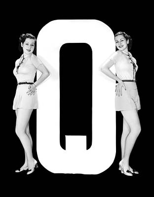 The Letter q  And Two Women Poster by Underwood Archives