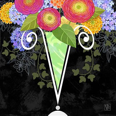 The Letter V For Vase Of Various Flowers Poster by Valerie Drake Lesiak