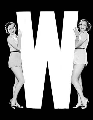 The Letter w And Two Women Poster by Underwood Archives