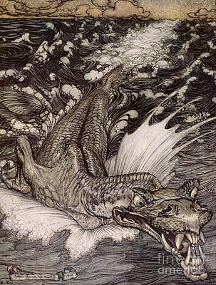 Fangs Poster featuring the painting The Leviathan by Arthur Rackham