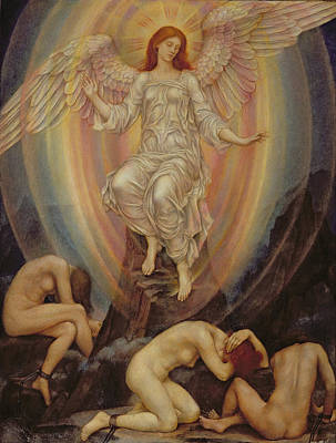 The Light Shineth In Darkness And The Darkness Comprehendeth It Not Poster by Evelyn De Morgan