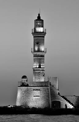 The Lighthouse At The Old Port Of Chania Poster by George Atsametakis