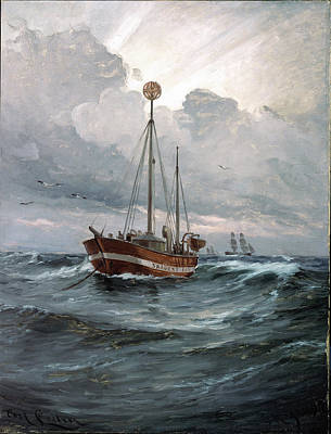 The Lightship At Skagen Reef Poster by Carl Locher