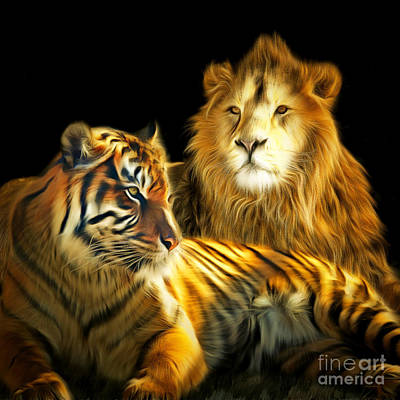 The Lions Den 201502113-2brun Square Poster by Wingsdomain Art and Photography