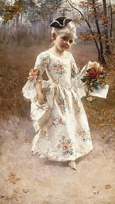 The Little Flower Girl  Poster by Albert Raudnitz