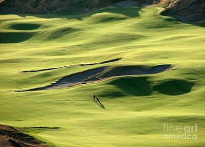 The Long Green Walk - Chambers Bay Golf Course Poster by Chris Anderson