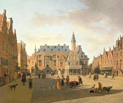 The Market Place With The Raadhuis, Haarlem, 17th Century Poster by Gerrit Adriaensz Berckheyde