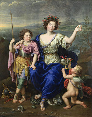 The Marquise De Seignelay And Two Of Her Sons Poster by Pierre Mignard
