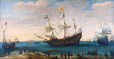 The Mauritius And Other East Indiamen Poster by Hendrik Cornelisz Vroom