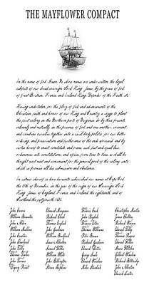 The Mayflower Compact  1620 Poster by Daniel Hagerman