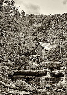 The  Mill At Babcock Sepia Poster by Steve Harrington