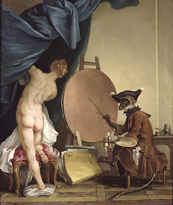 The Monkey Painter Oil On Canvas Poster by Jean Baptiste Deshays de Colleville