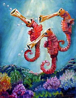 The Neptunes -- Trumpeteers Poster by Carol Allen Anfinsen