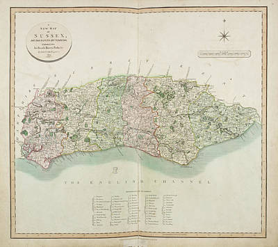 The New Map Of The County Of Sussex Poster by British Library