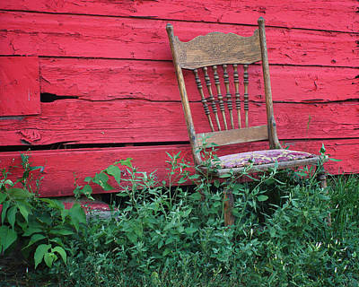 The Old Chair And The Red Barn #1 Poster by Nikolyn McDonald