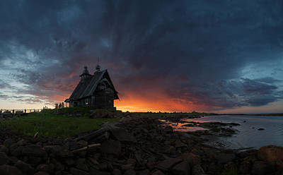The Old Church On The Coast Of White Sea Poster by Sergey Ershov