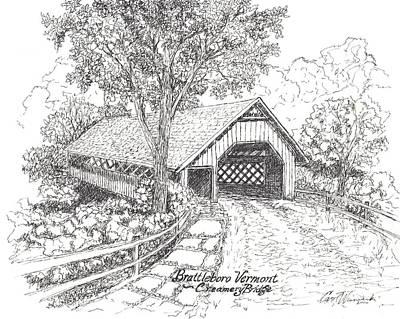 The Old Creamery Bridge Brattleboro Vt Pen Ink Poster by Carol Wisniewski